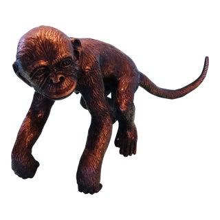 Primitive Style Bronze Monkey Figurine