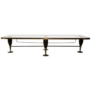 1950s Mid-Century Modern Bronze and Mahogany Coffee Table For Sale