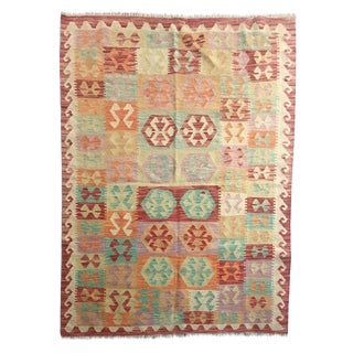 Boho Chic Multicolored All Wool Kilim - 4'5 X 6'4 For Sale