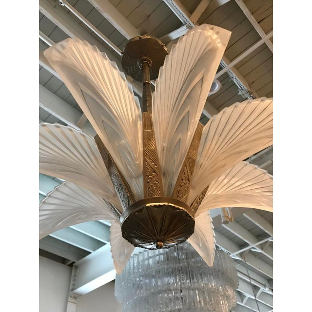 """French Art Deco """"Feather"""" Chandelier For Sale - Image 4 of 13"""