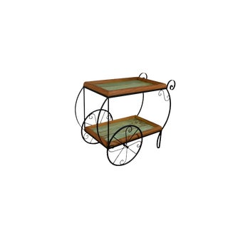 Reclaimed Peroba Rosa Wood and Wrought Iron Ink Bar Cart