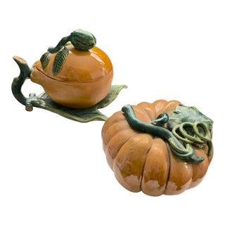 Antique Asian Glazed Ceramic Alter Fruit, Lemon and Melon - Pair For Sale