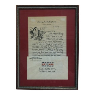 "1963 ""Air Mail - Detroit Michigan"" Henry Ford Hospital Letter, Framed For Sale"