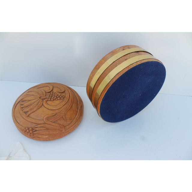 Round Hand-Carved Wood & Brass Box - Image 5 of 8