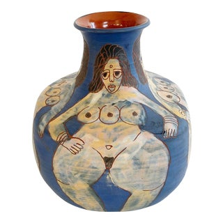 1982 Washington Ledesma 3 Breasted Goddess Ceramic Vase For Sale