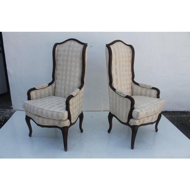 French Provincial Carved Wood Arm Chairs - A Pair - Image 3 of 11