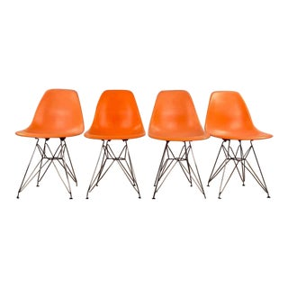 Mid-Century Modern Eames Style Orange Molded Plastic Side Chairs - Set of 4