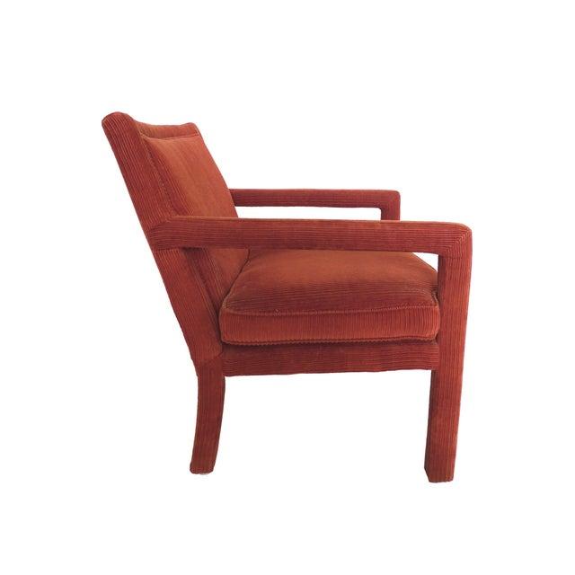 1970s Milo Baughman-Style Corduroy Armchair - Pair For Sale - Image 5 of 10
