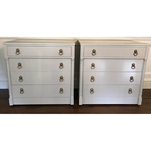 Vintage Rway Gray Lacquered Lion's Head Chest of Drawers - a Pair - Image 2 of 11