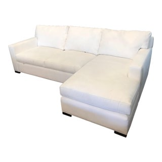 Crate & Barrel Barrett White Sleeper Sectional With Right Chaise For Sale