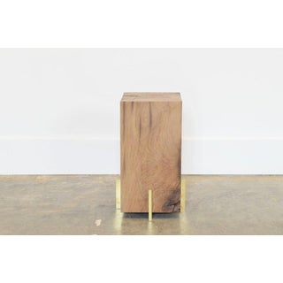 Oz|shop Antique Oak Beam Stool or Side Table With Solid Brass Plate Feet For Sale