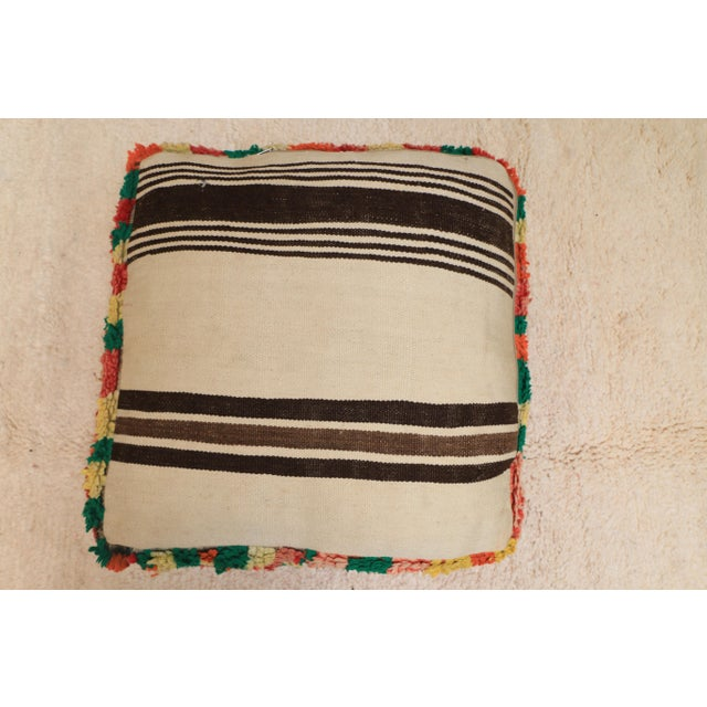 Moroccan Colorful Unstuffed Pouf Cover For Sale - Image 6 of 11