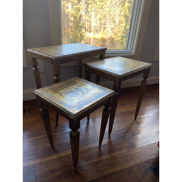 Estate sale find this weekend from a well-heeled traveler. These 3 nested tables have a classic French design. They are...