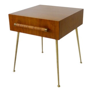 Robsjohn Gibbings Widdicomb Nightstand Side Table with Raffia Cane Covered Pull For Sale