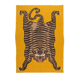 "Tiger Cashmere Blanket, Mustard, 51"" x 71"" For Sale"