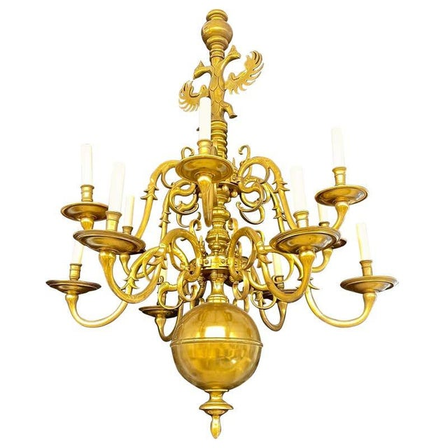 19th Century English Georgian Style Bronze Chandelier For Sale - Image 12 of 12