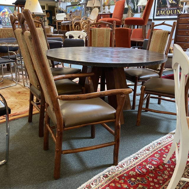 Custom Round Cement + Teak Dining Table + Six Hickory Wood Chairs- a Set For Sale - Image 10 of 13