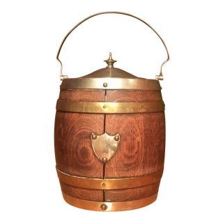 Vintage English Barrel Ice Bucket For Sale