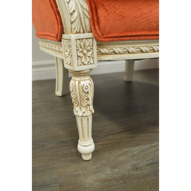 Pair of Louis XVI Style Painted Bergere Chairs Newly Uphostered in a Tangerine Velvet. For Sale In Buffalo - Image 6 of 10
