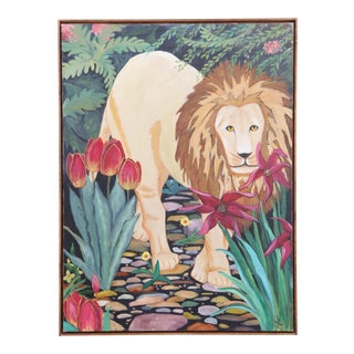 Boho Vintage Original Oil Painting Lion in Jangle Art with frame For Sale