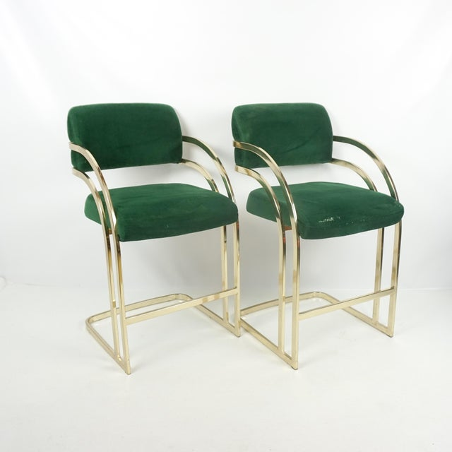Comtemporary Shell Brass Cantilever Bar Stools - a Pair For Sale - Image 11 of 11