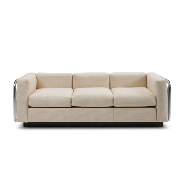 Chrome Mid-Century Tubular Chrome Wool Platform Tuxedo Sofa For Sale - Image 7 of 7