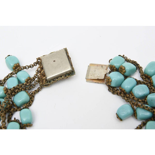 Miriam Haskell Turquoise Glass Bead and Metal Bib Necklace Vintage For Sale In Miami - Image 6 of 9