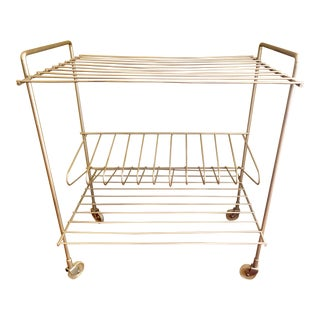 1960s Mid-Cenuty Modern Gold Wire Rolling Record Rack For Sale