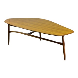 Mid-Century Swedish Design Free Form Kidney Shaped Lacquered Teakwood Coffee Table by Svante Skogh, 1950s