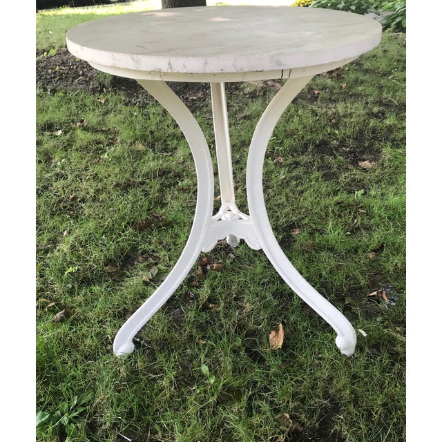 Boho Chic 1900s French Marble Top Bistro Table For Sale - Image 3 of 5