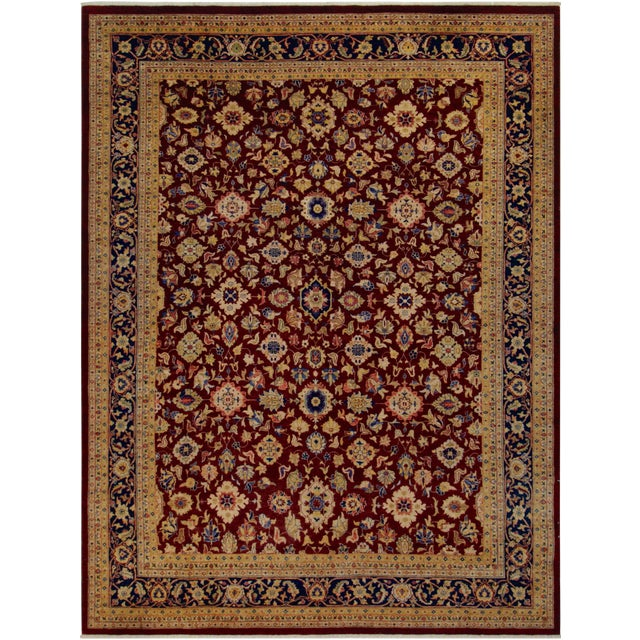 Kafkaz Peshawar Red & Blue Wool Rug - 9'0 X 12'2 For Sale