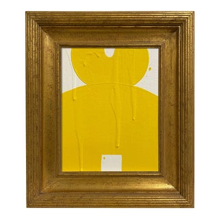 Ron Giusti Mini Kokeshi Doll Head Cream Yellow Painting, Framed For Sale