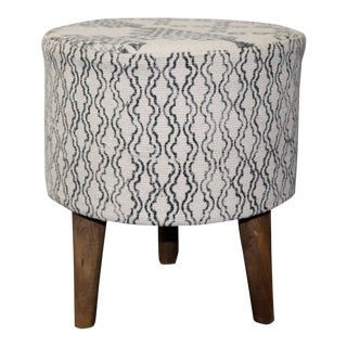 "Modern 16"" White and Black Small Cylindrical Three Legged Stool For Sale"