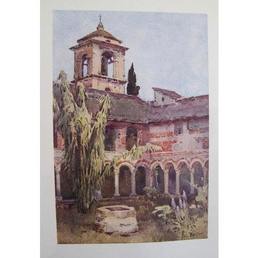 Art Nouveau 1905 Original Italian Print - Italian Travel Colour Plate - Il Chiostra DI Piona, Lago DI Como For Sale - Image 3 of 3