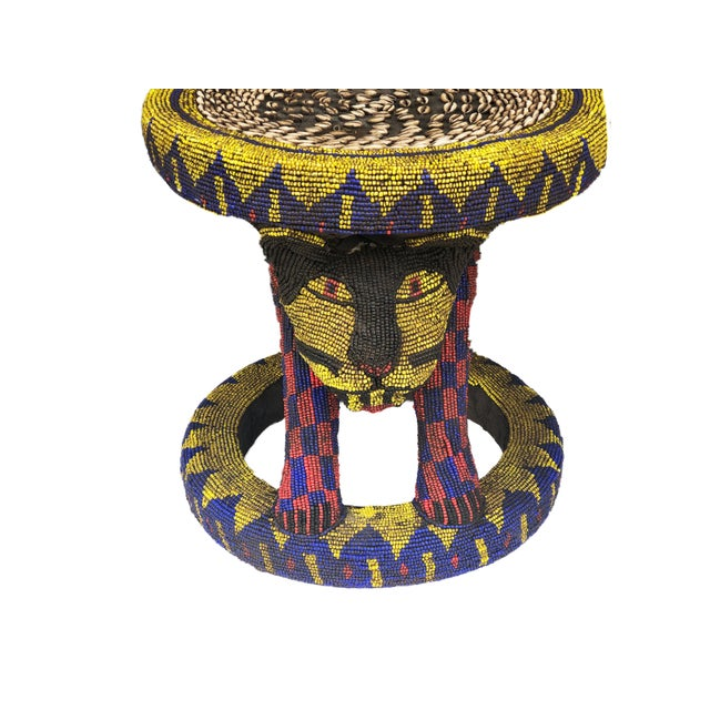 """Blue Old Lg African Beaded Wood Bamileke Stool /Table Cameroon 18.5'""""h For Sale - Image 8 of 10"""
