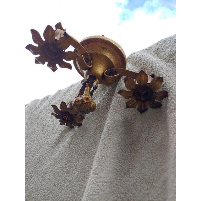 Vintage Bronze Flower Ceiling Light Fixture For Sale - Image 12 of 12