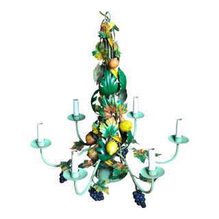 20th Century Cottage Wildwood Tole Chandelier For Sale