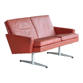 Danish 1960s Two-Seat Airport Sofa in Red Leather Style of Hans Wegner