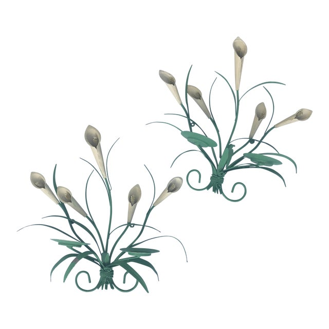 Painted Tole Floral Sconces - a Pair - Image 1 of 5