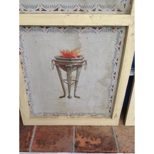 Pair of Antique Painted Canvas Window Panels For Sale - Image 12 of 13