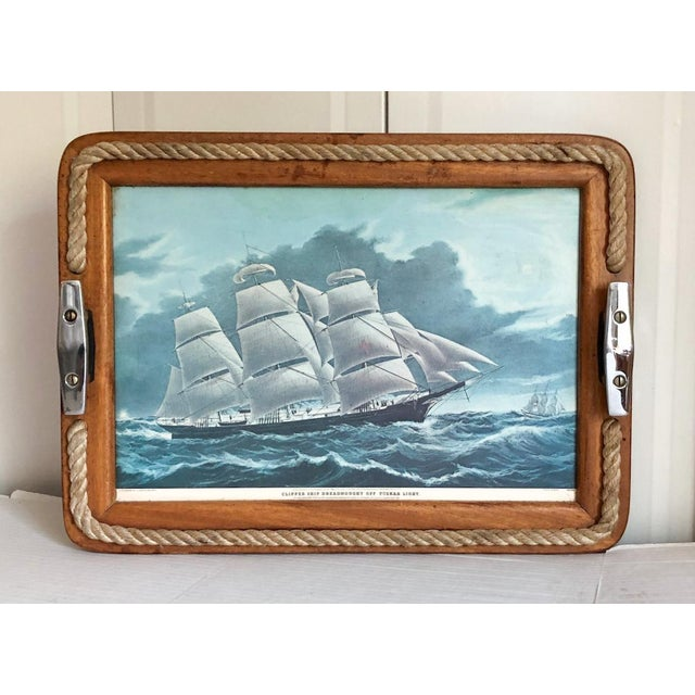 Metal Nautical Serving Tray With Cleat Handles Barware For Sale - Image 7 of 7