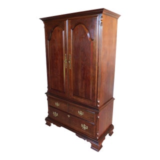 Pennsylvania House Chippendale Style Cherry Linen Press Armoire Chest For Sale