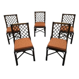 Set of 5 Italian Vintage Bamboo Dining Chairs For Sale