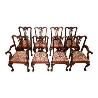 Carved Mahogany Chippendale Style Dining Chairs - Set of 8 For Sale