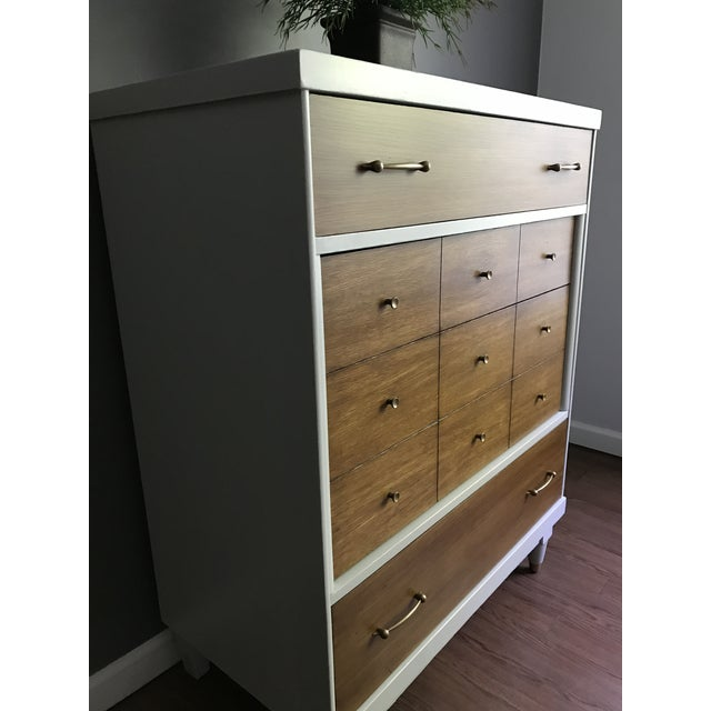 Wood Two-Tone Mid-Century Modern Highboy Dresser For Sale - Image 7 of 11
