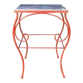 Antique Iron & Marble French Baker's Table For Sale
