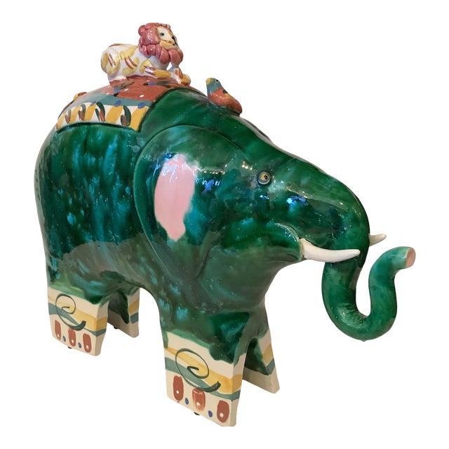 1980s Vintage Whimsical Glazed Ceramic Elephant Sculpture For Sale