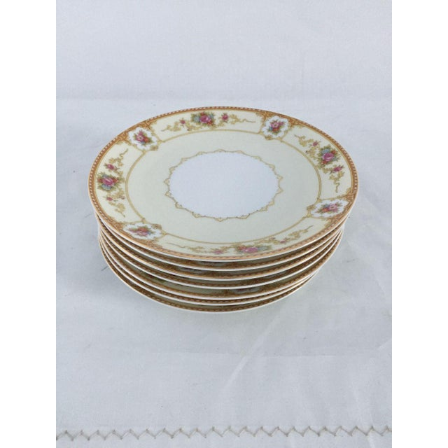 "Vintage, elegant floral dessert plates set of seven, makers mark reads""NORITAKE ALLURE 586 "" They are in excellent..."