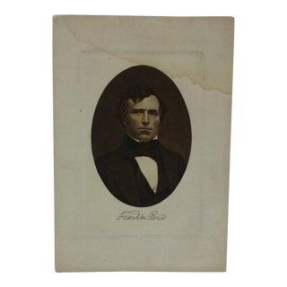 "Vintage Presidential Print on Paper ""Franklin Pierce"" Circa 1900 For Sale"