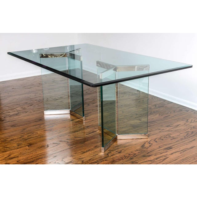 Hollywood Regency 1970s Leon Rosen for Pace Collection Chrome & Glass Rectangular Dining Table For Sale - Image 3 of 10
